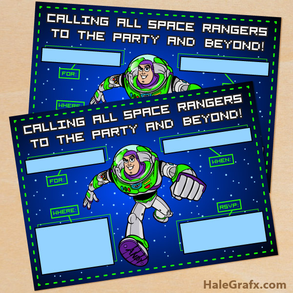 FREE Printable Toy Story Buzz Lightyear Birthday Invitation