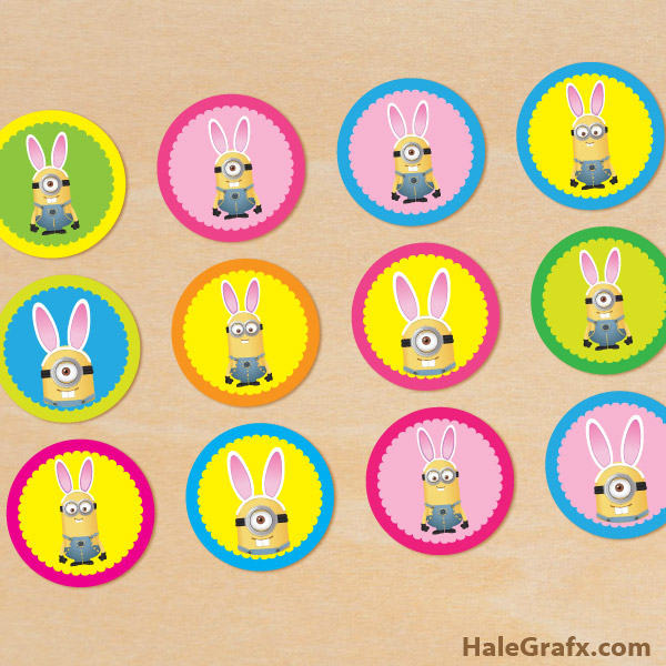 picture relating to Minions Logo Printable called Cost-free Printable Easter Bunny Minion Cupcake Toppers