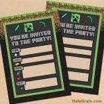 FREE Printable Minecraft Birthday party Invitation