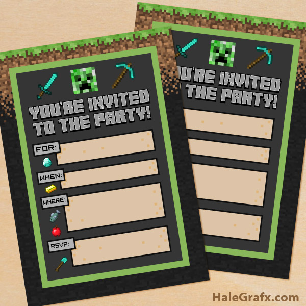 FREE Printable Minecraft Birthday party Invitation