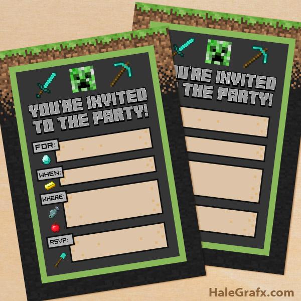 Printable minecraft birthday party invitation free printable minecraft birthday party invitation stopboris Images