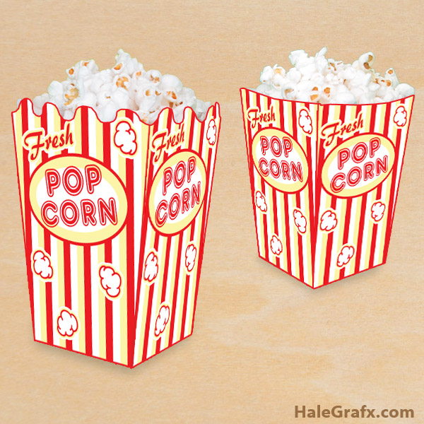 Free printable popcorn box for Popcorn container template