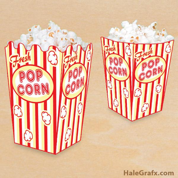 free printable popcorn box