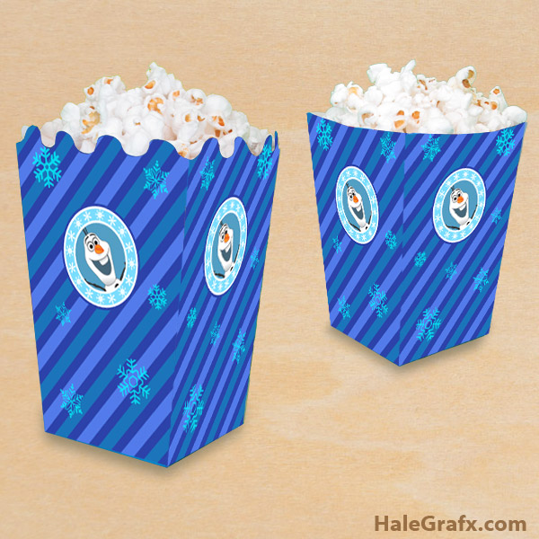 FREE Printable Frozen Olaf Popcorn Box
