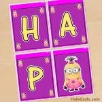 FREE Printable Despicable Me Girl Minions Birthday Banner