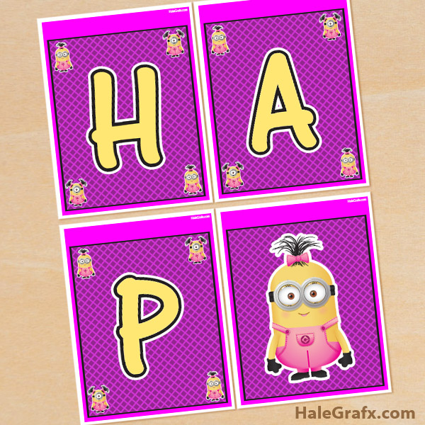 FREE Printable Despicable Me Girl Minions Birthday Banner