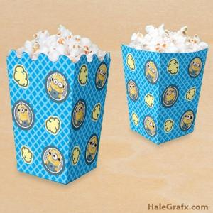 Free printable minion popcorn boxes