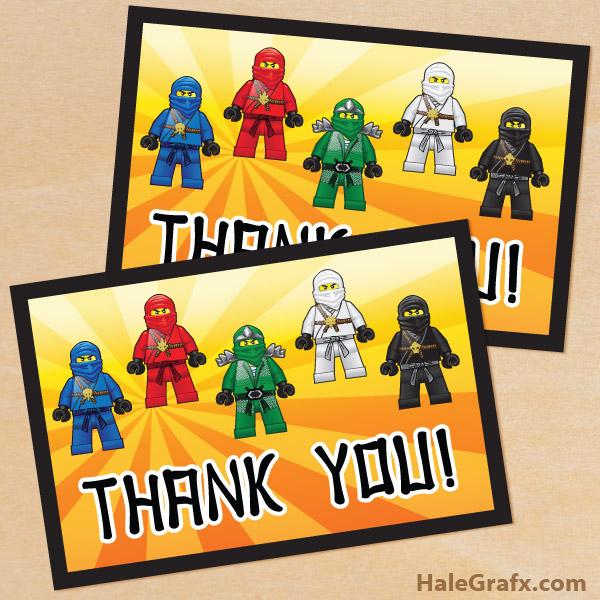 FREE Printable Ninjago Thank You Card