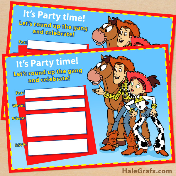 Free Printable Toy Story Woody and Jessie Invitation