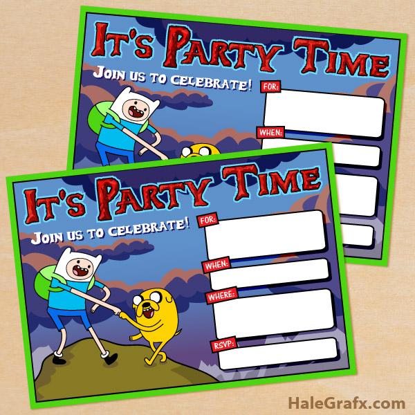 Printable Adventure Time Birthday Invitation