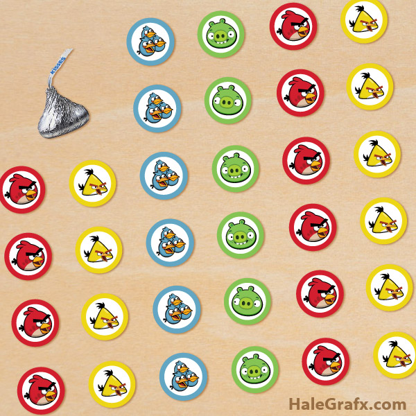 FREE Printable Angry Birds Hershey's Kisses Stickers