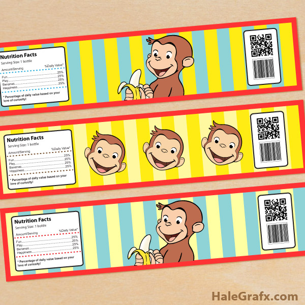 FREE Printable Curious George Water Bottle Labels