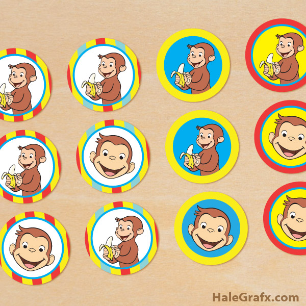 graphic about Curious George Printable identify Totally free Printable Curious George Cupcake Toppers