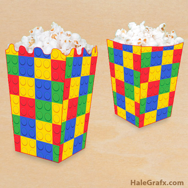 FREE Printable LEGO Building Block Popcorn Box