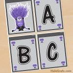 FREE Printable Despicable Me Evil Minions Alphabet Banner