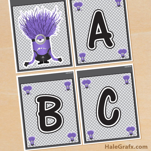 purple minion banner FREE Printable Despicable Me Evil Minions Alphabet Banner