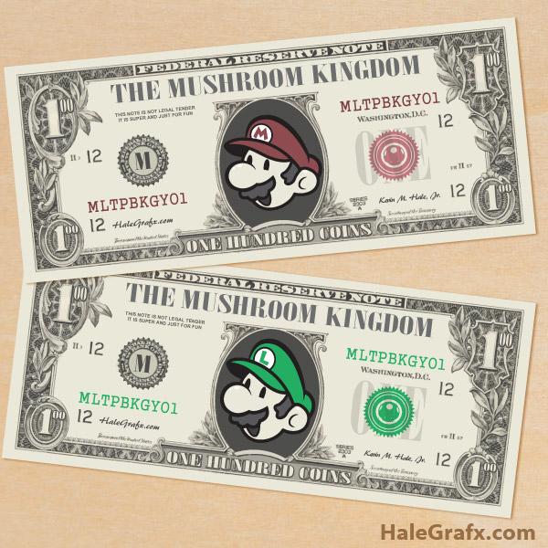 Free Birthday Money ~ Free printable super mario bros play money