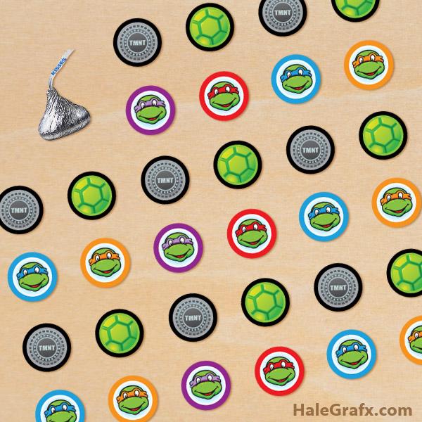 FREE Printable Ninja Turtle Hershey's Kisses Stickers