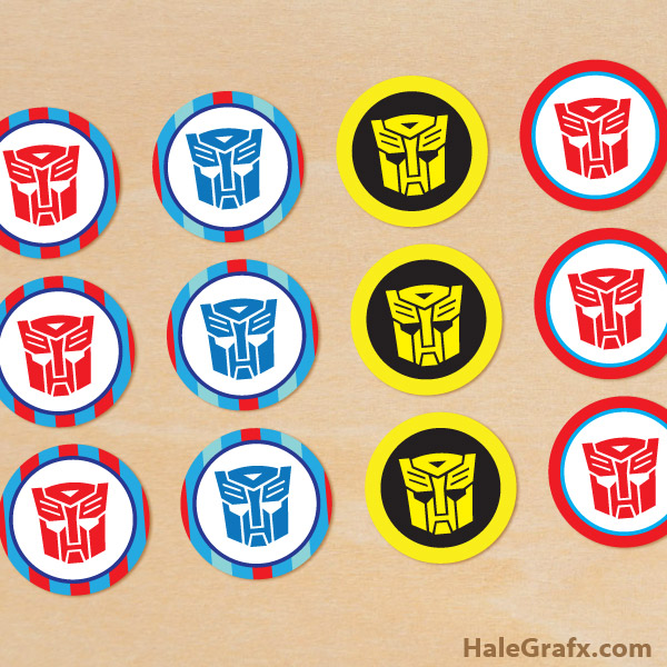 image about Transformers Printable titled Free of charge Printable Transformers Cupcake Toppers
