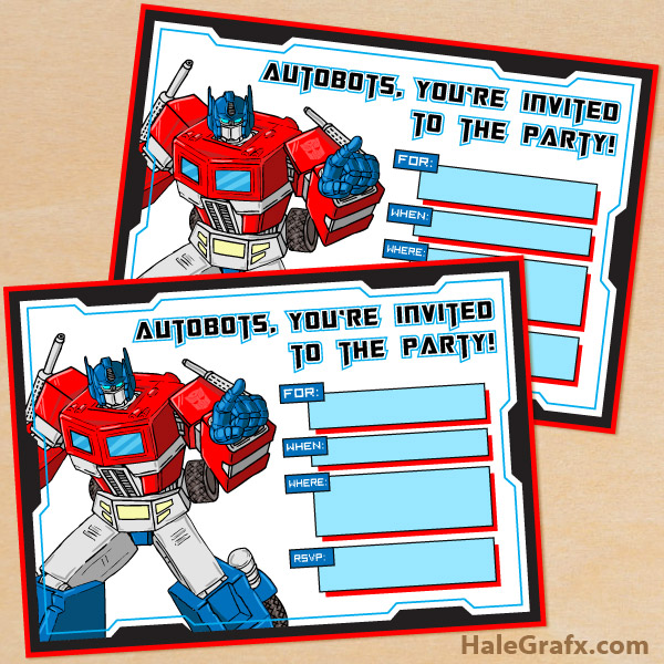 Printable G1 Transformers Birthday Invitation