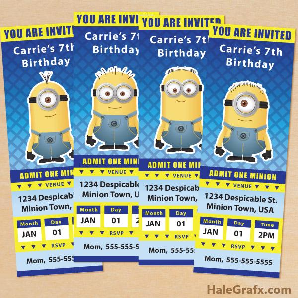 Free Printable Despicable Me Minion Ticket Invitations