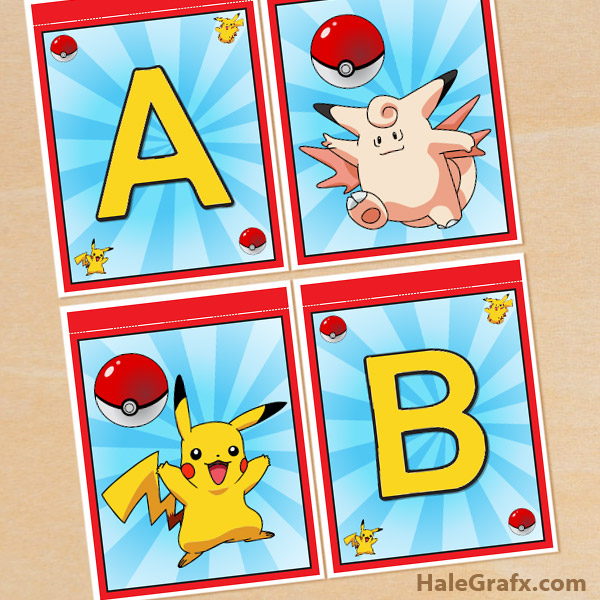photograph about Free Printable Pokemon Pictures titled Free of charge Printable Pokémon Alphabet Banner Pack