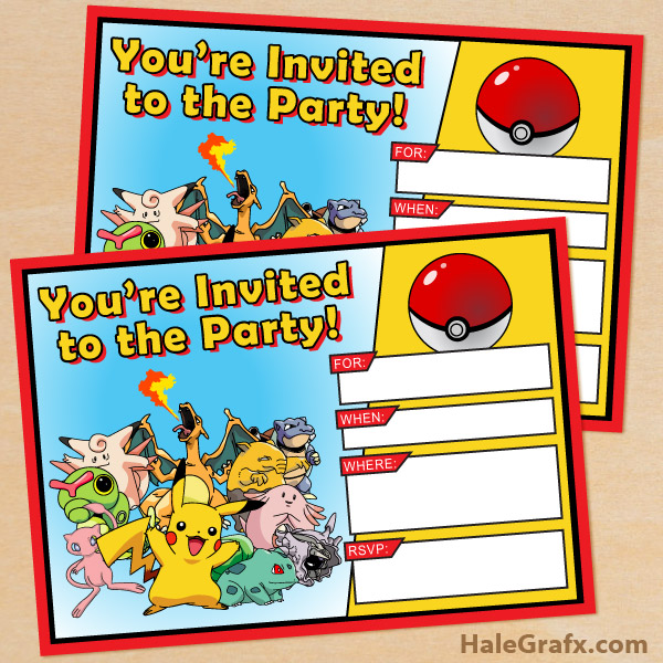 image relating to Free Printable Pokemon Pictures named Cost-free Printable Pokémon Birthday Invitation