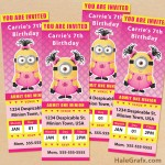FREE Printable Despicable Me Girl Minion Ticket Invitations