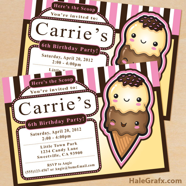 FREE Printable Ice Cream Party Invitation