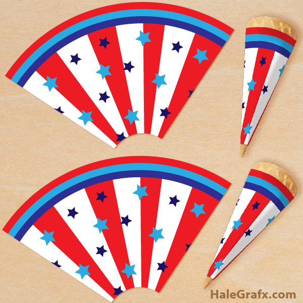 FREE Printable 4th of July Ice Cream Cone Wrappers