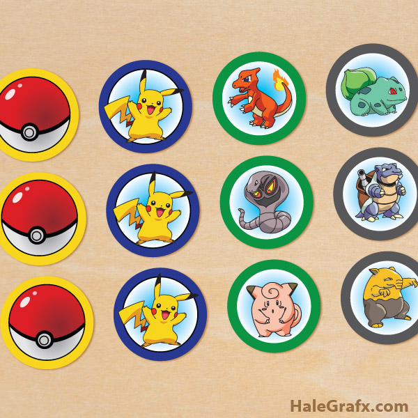 free printable pokmon cupcake toppers - Free Printable Pokemon Pictures