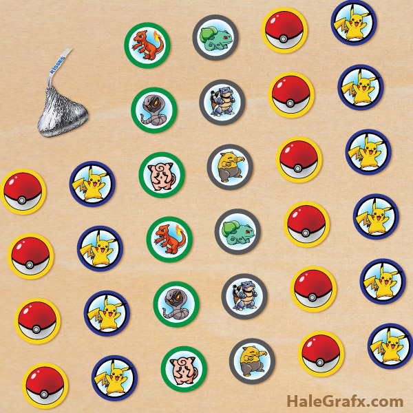FREE Printable Pokémon Hershey's Kisses Stickers