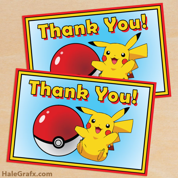 free printable pokmon thank you card - Free Printable Pokemon Pictures