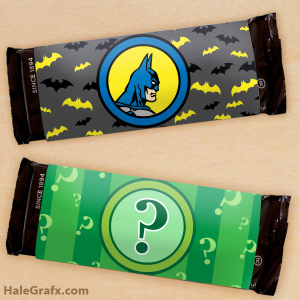 FREE Printable Batman and Riddler Candy Bar Wrappers