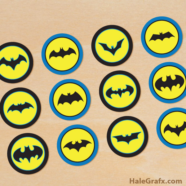 graphic about Batman Printable called No cost Printable Batman Cupcake Toppers