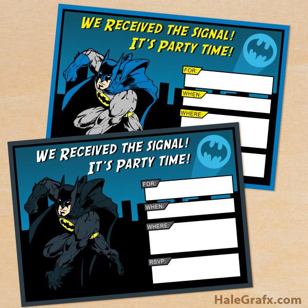 FREE Printable Batman Birthday Invitation Set