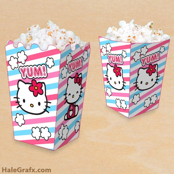 FREE Printable Hello Kitty Popcorn Box