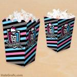 FREE Printable Monster High Popcorn Box