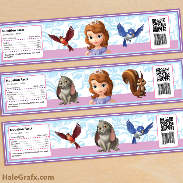 Water Bottle Zelda: FREE Printable Sofia The First Water Bottle Labels