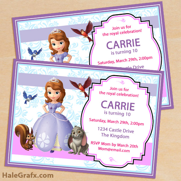 Printable Sofia The First Birthday Invitation Pack - Sofia the first party invitation template
