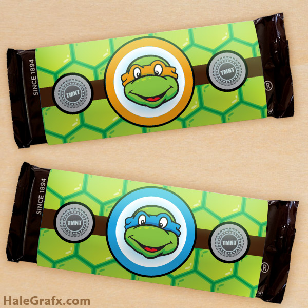 tmnt candy bar wrappers FREE Printable Retro Ninja Turtle Candy Bar Wrappers