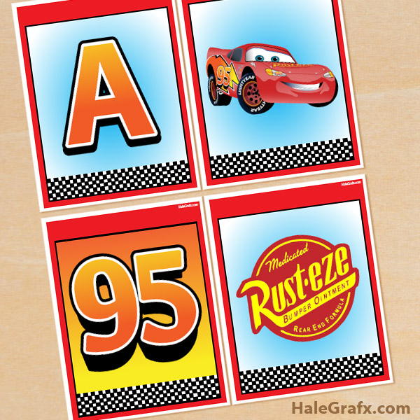 photo regarding Free Printable Cars named Cost-free Printable Disney Automobiles Alphabet Banner Pack