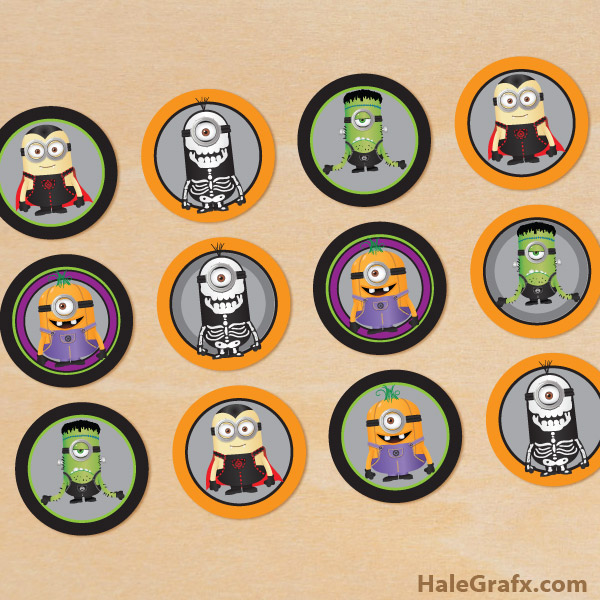 FREE Printable Halloween Minions Cupcake Toppers