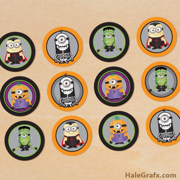 Printable Halloween Minions Cupcake Toppers