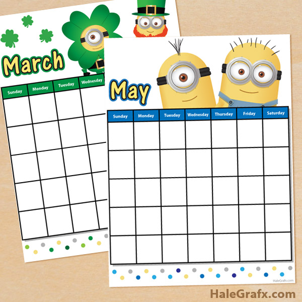 FREE Printable Despicable Me Minions Calendar Sheets