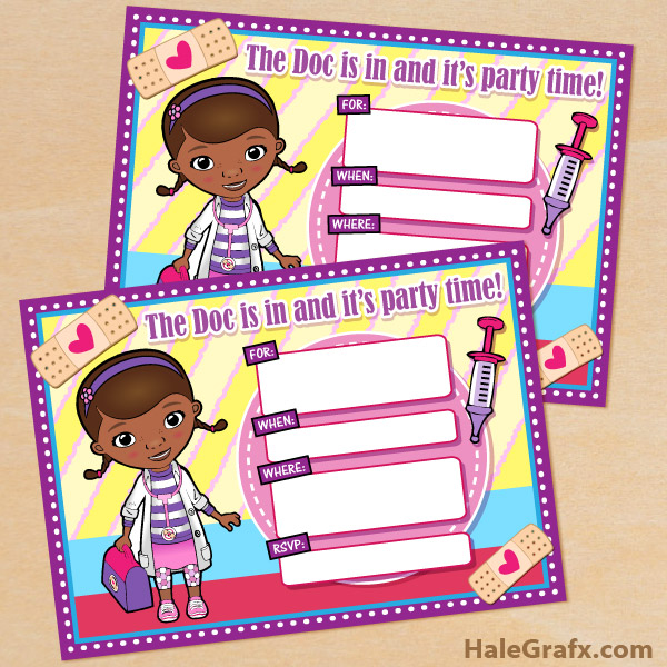 image relating to Free Doc Mcstuffins Printable identified as Cost-free Printable Disney Document McStuffins Birthday Invitation