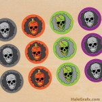 FREE Printable Halloween skulls Cupcake Toppers