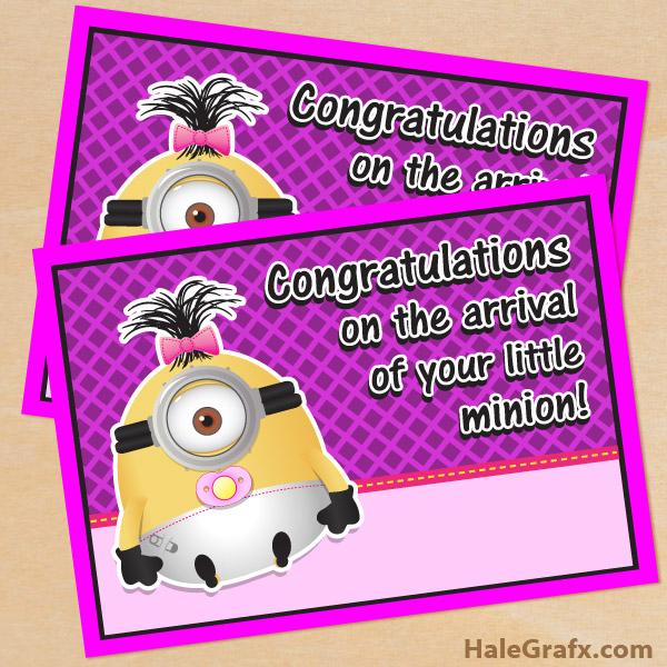 FREE Printable Despicable Me girl Minion Baby Arrival Card