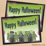 FREE Printable LEGO Zombie Halloween Card