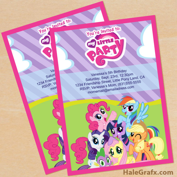 printable my little pony birthday invitation set, Party invitations